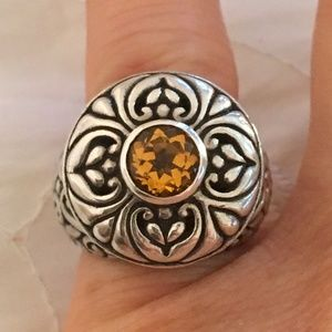 Silver 1 Carat Yellow Orange Round Citrine Ring